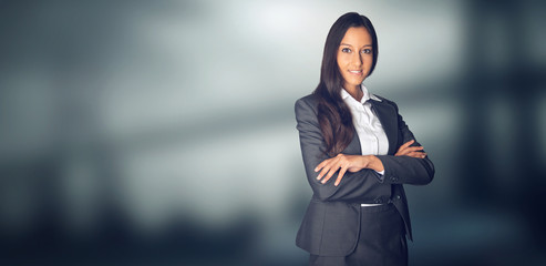 Confident Businesswoman with Copy Space on Side