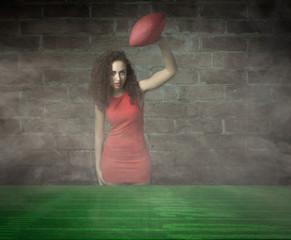 girl ready for Super Bowl