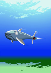 underwater with submarine