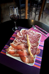 Cold meat and wine