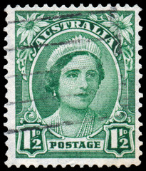 Stamp printed in Australia shows a portrait of Queen Elizabeth I