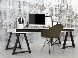 Stylish modern black and white office interior