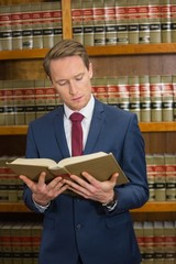 Lawyer reading in the law library