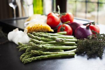 Asparagus and Linguini Horizontal