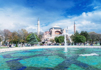 ISTANBUL, TURKEY - SEPTEMBER 14, 2014: Tourists walk in Sultanah