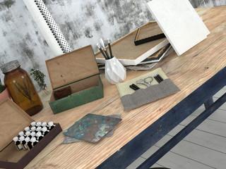 Desk in an Artist or designer studio with pencils