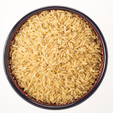 Brown Rice in Bowl Isolated