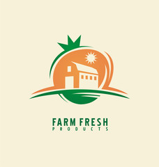 Farm fresh product label design layout