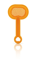 Orange toy spade with clipping path