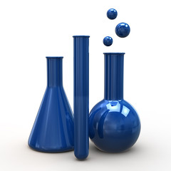 Blue laboratory glass icon