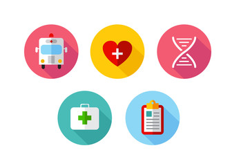Trendy Flat science icons. Vector illustration. Medical icons