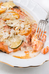 prepared salmon fillet on white plate