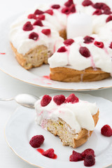 delicious pie with whipped cream and raspberries