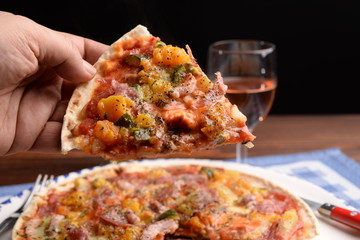 Pizza with pumpkin and bacon