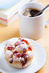 summer berry bread on plate for coffee break