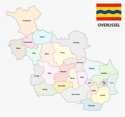 province overijssel administrative map with flag