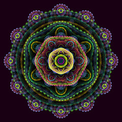 Round 3D mandala on purple background