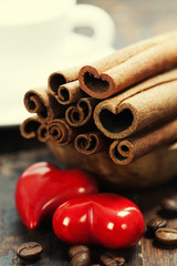 Cinnamon sticks and coffee for Valentine's Day