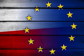 Poland and European Union Flag on wood background