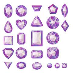 Set of realistic purple jewels. Amethysts.