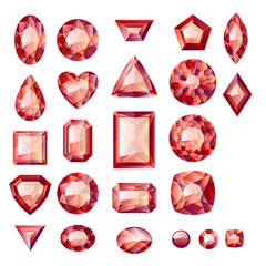 Set of realistic red jewels. Rubies isolated.