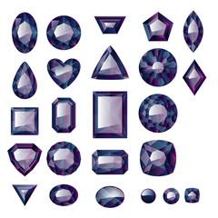 Set of realistic black jewels.
