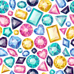 Seamless colorful gemstones background on white.