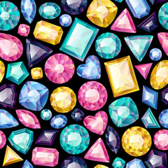 Seamless colorful gemstones background on black.