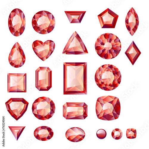 Set of realistic red jewels. Rubies isolated. - 76324064
