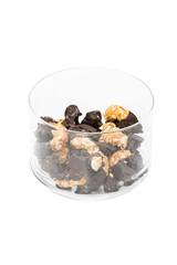 Cookies halfway into chocolate and half nuts