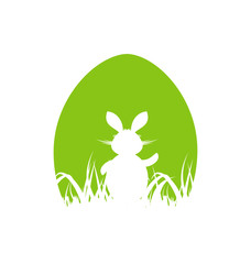 Cartoon Easter poster with rabbit and grass