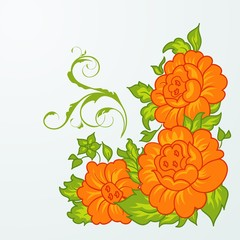 cute orange flowers isolated