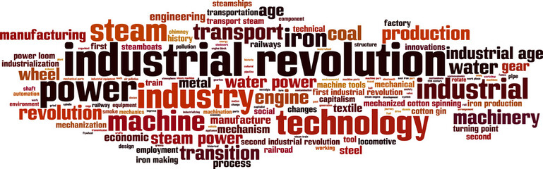 Industrial revolution word cloud concept. Vector illustration