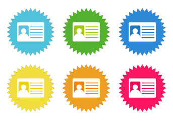 Set of colorful stickers icons with identification card symbol