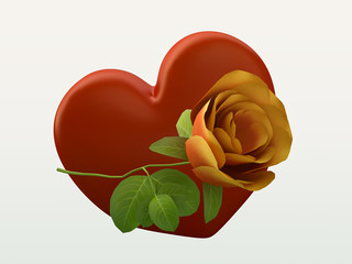 Valentine Symbol with a Rose