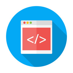 Coding flat circle icon with long shadow