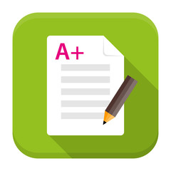 Exam preparation app flat icon with long shadow