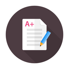 Exam preparation flat circle icon