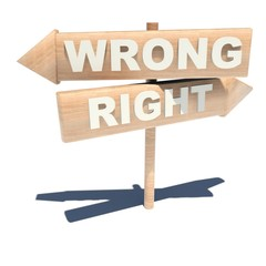 Wrong right sign in Wood