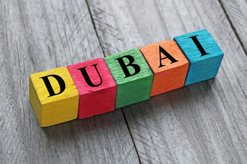 word dubai on colorful wooden cubes
