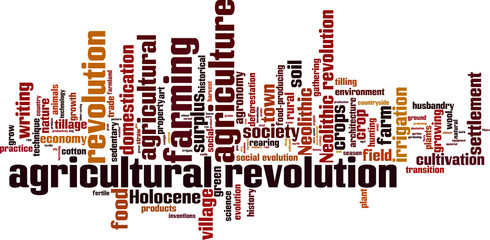 Agricultural revolution word cloud concept. Vector illustration
