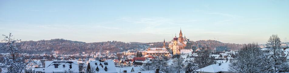 Winter-Landschaft: Blick über Sigmaringen mit Schloss