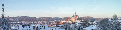In de dag Kasteel Winter-Landschaft: Blick über Sigmaringen mit Schloss