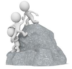 The dude 3D character x3 climbing a Rock Mountain.