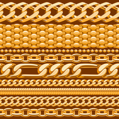 Assorted golden chains on brown.