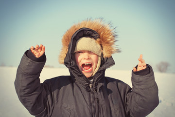Happy Kid in the Winter