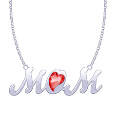 Silver MOM word pendant on chain.