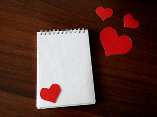 Note Pad with Heart Shapes