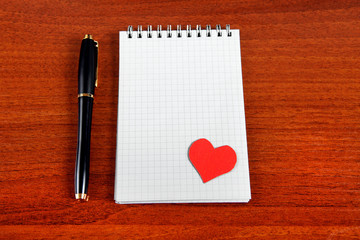 Note Pad with Heart Shape