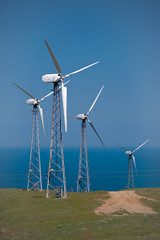 The electric generator, using wind energy.